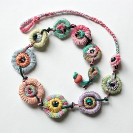 Handmade crochet textile necklace