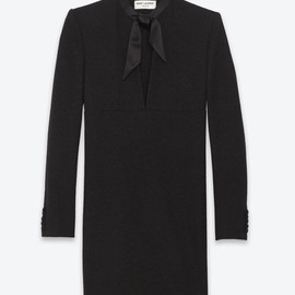 Saint Laurent Paris - SAINT LAURENT SLIT FRONTLONG SLEEVE MINI DRESS IN BLACK WOOL CRÊPE AND SEQUINS