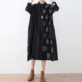 long Shirt dress - Black maxi dress,Shirt collar dress, long Shirt dress, Women everyday clothes