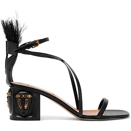 VALENTINO - SS2016 Feather-embellished leather sandals