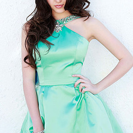 Sherri Hill 2124 - Sherri Hill 2124 Beaded Green Satin Halter Open Back Cheap Short Prom Dress