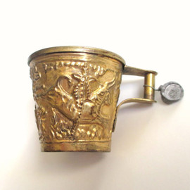 GREEK SOUVENIR CUP Mug, Valphio Brass and Copper, Embossed Bull and Lead Tag, Made in Greece
