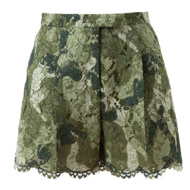 VALENTINO - Camouflage Patterned Lace Shorts