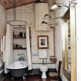 rustic meets modern bathroom