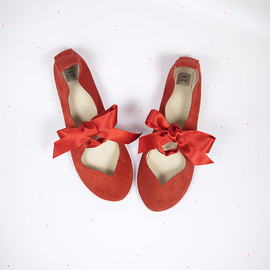 elehandmade - Heart Shaped Red Handmade Italian Ballet Flats Shoes