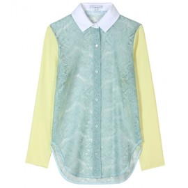 CARVEN - LACE BLOUSE WITH SILK SLEEVES