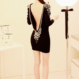 Sexy Backless pearl Dress