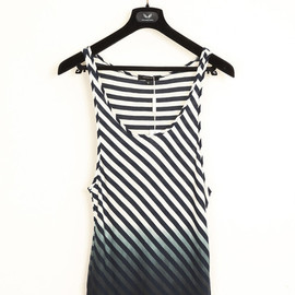 UNCONDITIONAL - navy and white stripe vest with dipdye