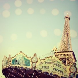 EyePoetryPhotography - Paris Photograph, Carousel, Eiffel Tower, Pastels, Pale Blue, Nursery Art - Carrousel