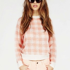 WILDFOX - ALL OVER GINGHAM MINI 70'S SWEATER