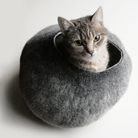Vessel - Crisp Contemporary Design - Warm Gray Stone - Hand Felted Wool Cat Bed