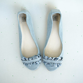 elehandmade - Ballet Flats Shoes Handmade Serenity Dusty Cold Gray Grey with Ruffles in Satin