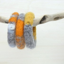 Luulla - Felted chunky bangles - knitted jewelry - organic wool - winter accessories