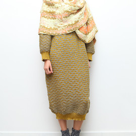 Anntian - Yellow Triangles Knit Dress from Triple-Major