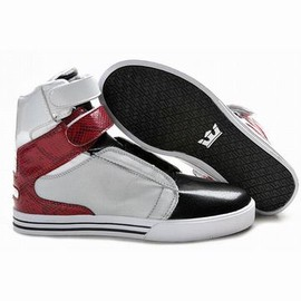 men high top supra tk silver black red leather shoes