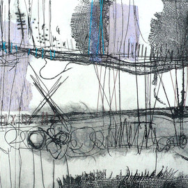 Shelley Rhodes - untitled, etching with stitch, mixed media on paper and fabric