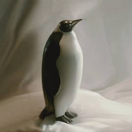 Stoneware Baby Penguin Figurines are slip cast in the United States from The Andersen Studio Ceramic Birds collection