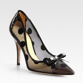 kate spade NEW YORK - Kate Spade Polkadot Patent Leather Mesh and Velour Point Toe Pumps in Black - Lyst