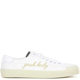 SAINT LAURENT - SS2016 Yeah Baby leather-trimmed embroidered canvas sneakers
