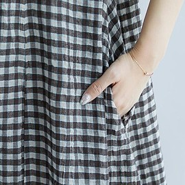 Dresses Summer - Plaid dress, Linen Dresses, Cotton Dresses, Loose Dresses, Dresses Summer, V collar dress