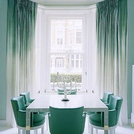 Sea foam green drapery and chairs