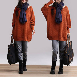 etsy - Brown winter pullover knitted bat shirt / sweater loose, casual no good Coat