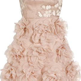 VALENTINO - Embellished silk strapless dress