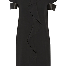 NEIL BARRETT - Ruffled leather-trimmed silk-blend georgette dress