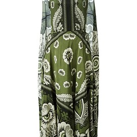 VALENTINO - SS2015 Green silk printed cape-style dress