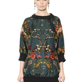 DOLCE&GABBANA - FW2014 KEYS & FLORAL PRINTED SILK SATIN TOP
