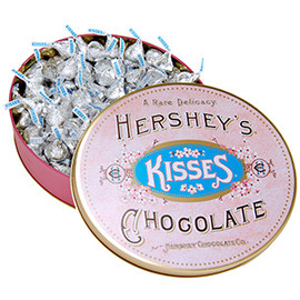HERSHEY'S - Vintage Oval Tin Filled with KISSES Chocolates