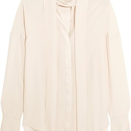 Chloé - Satin-trimmed silk crepe de chine blouse