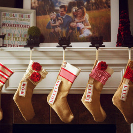 PinkSlipInspiration - Personalized Christmas Stocking: Red and White Collection
