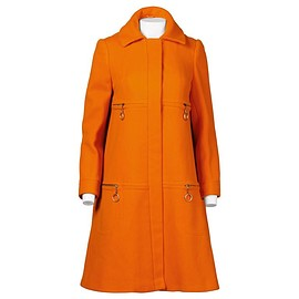 MARY QUANT - Vintage 1960s Mod Orange Wool Trapeze Swing Coat with Ring Pulls