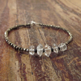 TwoFeathersNY  - Herkimer Diamond Bracelet with Pyrite & Black Spinel Beads