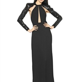 SAINT LAURENT - SEQUINS ON VISCOSE SABLÈ LONG DRESS