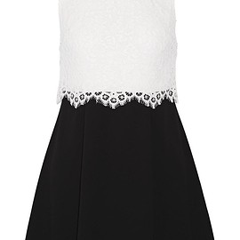 Alice + Olivia - Desra corded lace and crepe mini dress
