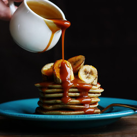 Coconut Pancakes - Grilled Bananas and Salted Caramel Rum Sauce