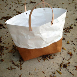 Belltastudio - Two tone paper bag Kraft and Tyvek paper small lunch