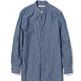 nonnative - DOCTOR LONG SHIRT - COTTON CHAMBRAY blue
