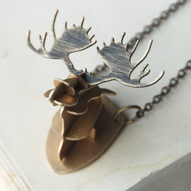 steampunkfunk - Moose Antlers Necklace 3D Rustic Brass Metalwork With Oxidized Finish Made To Order