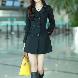 Notched Collar Double Breast Long Slim Fit Tunic Pea Coat Overcoat