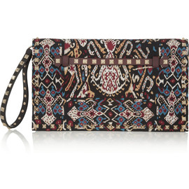 VALENTINO - The Rockstud embroidered leather clutch