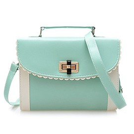 Sweet Women's Crossbody Bag With Color Block and Engraving Design