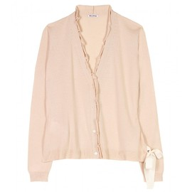 miu miu - Ruffled cashmere cardigan with bow