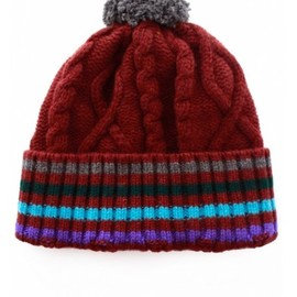Paul Smith - Brown Cable Knit Bobble Hat
