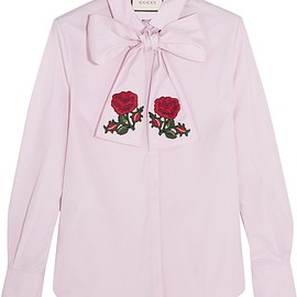 Gucci - Embroidered pussy-bow cotton blouse
