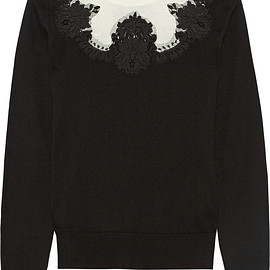 DOLCE&GABBANA - Lace-paneled silk sweater