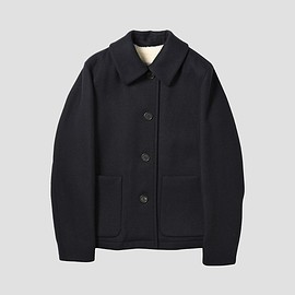 MARGARET HOWELL - SHEEPSKIN LINED COAT HEAVY WOOL FELT DARK NAVY