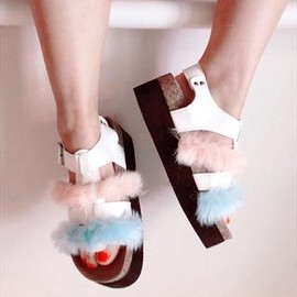 ROMY LDN - KITTY Pink Blue Faux Fur Flatforms